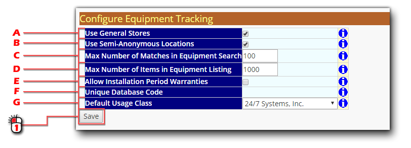 Equipment Tracking Configuration Screen Shot