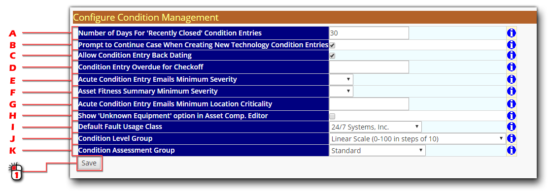 Condition Management Configuration Screen Shot
