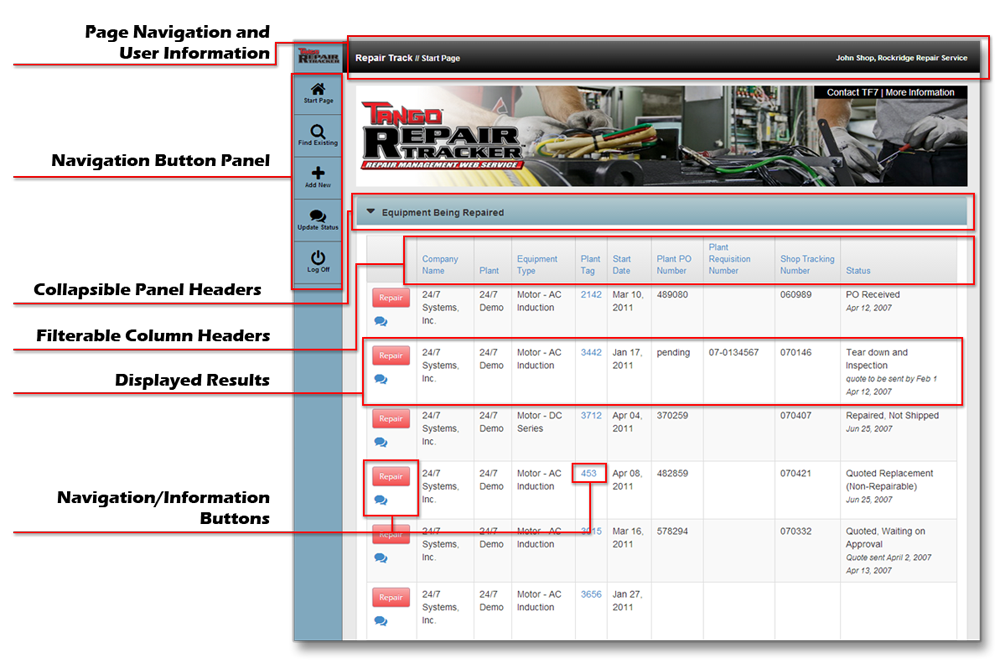 Repair Tracker User Interface