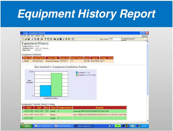 Equipment History Report